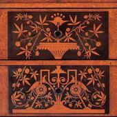 Рокфеллеровский дубовый складной столик с зеркалом, для утреннего туалета (фас)