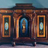 Росписной кабинетный комод с ангелами и масонско-теософскими сценами, конец XIX века